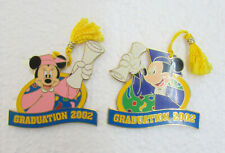 Set of 2 2002 Mickey & Minnie Mouse Graduation w/ Tassle Disney Trading Pin ~DP1