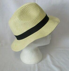 Beige Straw Fedora Sun Summer Hat