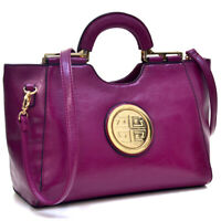 Dasein Women Handbag Tote Shoulder Bags Satchels Large Purse w/ Gold-Tone Logo