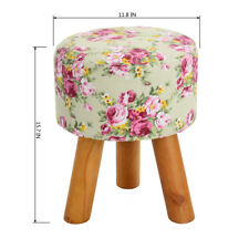 Floral  Design Luxury Wooden Footstool Ottoman Round Pouffe Wooden Leg Padded