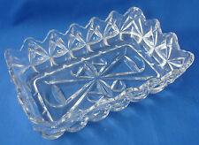 "pressed glass relish tray pickle dish rectangular 98""x5"" diamond teardrops"