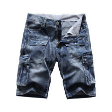 FOX JEANS Men's Nelson Denim Blue Cargo Shorts  Mens Jeans Shorts SIZE 32-44