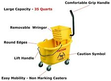 35 Quart Commercial Wet Mop Bucket Wringer Combo Yellow Janitorial Cleaning