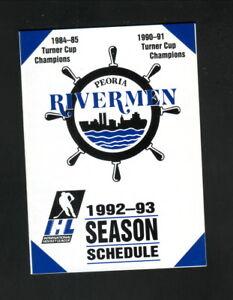Peoria Rivermen--1992-93 Pocket Schedule--Sully's Pub