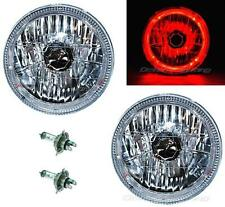 "7"" Halogen H4 Headlight Headlamp Red LED Halo Angel Eyes Light Bulbs Pair Iw"