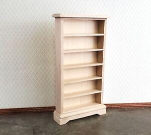 Dollhouse Miniature Tall Bookcase Shop Shelves1:12 Scale Furniture Unpainted