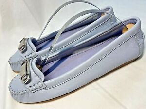 COACH Moccasin Flats Periwinkle Leather Nickel Logo Plate Sample Women's 6 B NEW