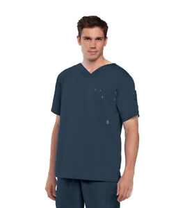 Grey's Anatomy Scrubs Men's 3 Pockets High Open V-Neck Top