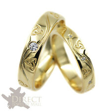 9ct YELLOW GOLD GENUINE DIAMOND His/Her Celtic Knot Trinity Wedding Band Ring