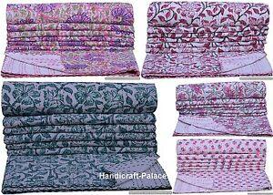 Indien Coton Floral Imprimé Set Couvre Lit Double Taille Couvre-Lit Décor