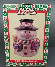 Holiday Collection Snowman Cookie Jar Pearlized Snack Jar Christmas