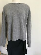 Zadig Voltaire Gray Cashmere Pullover Sweater-M-White Leather Elbow Patches-EUC