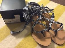 Jcrew Gingham Navy White Check Tie Lace Up Sandals 12 (fits 11) New!