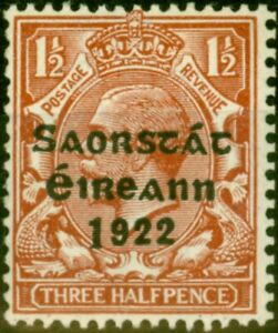 Ireland 1923 1 1/2d Red-Brown SG69a Long 1 V.F Very Lightly Mtd Mint