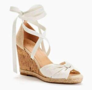 APT 9 Cherry White Wedge Heels Tie Peep Toe Women's Sandals $59.99