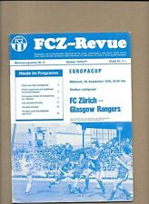 FC Zurich v Rangers September 1976 European Cup 1st Round 2nd Leg  **MINT **