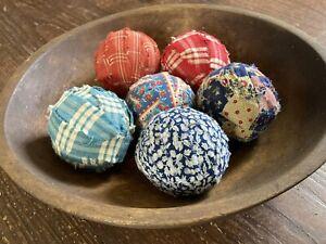 """6 Decorative Rag Balls - Red/Blue Plaid Homespun, Blue Calico  2.5"""" Bowl Filler"""