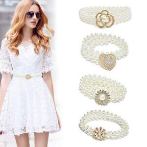 Women's Pearl Ladies Dress Elegant Flower Heart Waist Belt Elastic Chain Belt