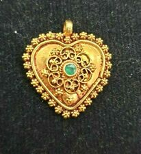 Emerald Heart Snowflake Handcrafted Pendant Antique Victorian 22K Genuine Gold