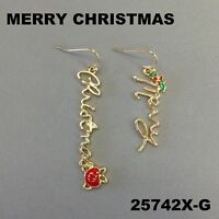 """Holiday """"MERRY CHRISTMAS"""" Outline Gold Finish Dangle Hook Earrings 25742X-G"""