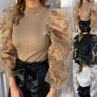 Women's Shirts Flower Mesh Puff Long Sheer Sleeve Tops Pullover Blouse Shirts,