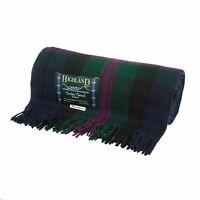 Highland Scottish Wool Blend Tartan Tweed Extra Warm Rug / Blanket