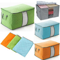 Large Foldable Non-woven Clothes Quilt Blanket Zipper Storage Bag Organizer Box