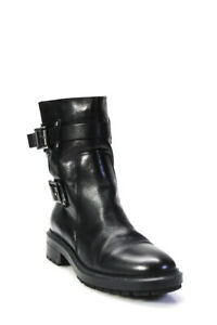 Aquatalia Womens Round Toe Low Heel Leather Ankle Boots Black Size 8