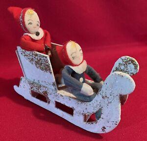 Pixie,Elf,Sprite,Knee Hugger,Sleigh,Vintage,Christmas,Japan,Pressed Cardboard