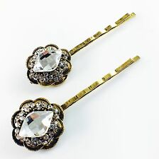 USA Vintage Bobby Pin Rhinestone Crystal Hair Clip Hairpin Jeweled Charming Gold