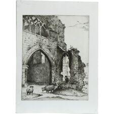 Senza cornice originale INCISIONE ARCHITETTURA STAMPA Albert Cooper Pecora Uomo Abbey