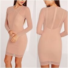 Missguided Long Sleeve Mesh Overlay Harness Dress Nude UK 8 US 4 RRP £30 (CAD25)