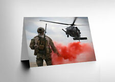 NEW WAR AIR FORCE HELICOPTER LANDING FLARE SMOKE RED GREETINGS CARD CL1190