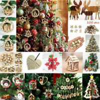 3D Christmas Tree Hanging Pendant Wooden Carving Home Xmas Party Decoration