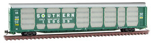 Micro-Trains MTL N-Scale 89ft Tri-Level Auto Rack/Carrier Southern/Green #159009