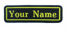 RECTANGULAR CUSTOM EMBROIDERED NAME TAG Iron / Sew on patch (Yellow)