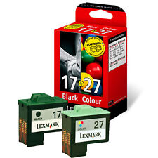 2 GENUINE CARTRIDGES LEXMARK 27 COLOUR + 17 BLACK 2YR GTEE 1ST CLASS FASTPOSTAGE