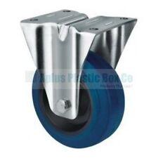 Wheel & Castor - Heavy Duty - R,Blue 100mm Rigid/Fixed Plate