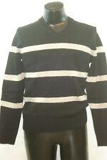 OLD NAVY V-Neck Sweater - Black with Grey Stripes