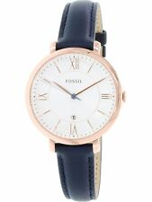 Fossil Women's Jacqueline ES3843 Blue Leather Quartz Dress Watch