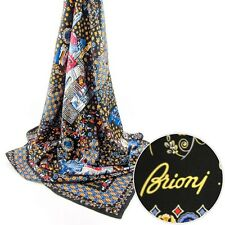 BRIONI Rome Black Hand Made Silk Wrap Scarf Shawl Hijab Headscarf MSRP $495!