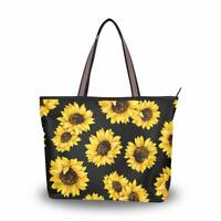 ZOEO Sunflower Black Large Tote Bags Women Summer Handbags Shopper Beach Camping