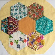 Hexagon Patchwork Block COMPLETED Hand Sewn Vintage Retro Fabrics Repurpose