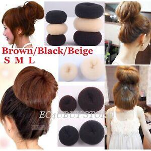 Hair Donut Bun Maker Ring Style French Chignon Ballet Dance Sock Bun Updo S M L