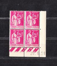 timbre France bloc de 4 coin dat��  type  Paix  1f75  rose lilas    num: 289  **