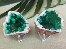 Green Geode Pair W/Stands Geode Crystal Quartz Druze Specimen Morocco Geode