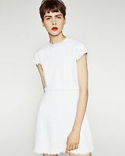 ZARA Woman White Tweed Fantasy Dress Designer Inspired Shift Floral Lace S-M