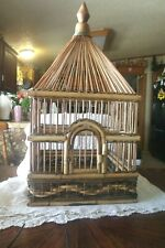 Vintage Large Bamboo Wood with Teak Bird Cage Excellent Bottom Cleanout Clean