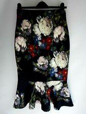 M&S Colección Floral Negro Falda de peplum talla 8/36 BNWT