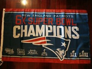New England Patriots 6 Times Super Bowl Champions 3x5 Flag banner